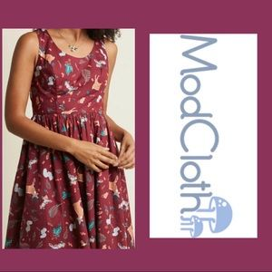 ModCloth Burgundy Forest Critters Print Dress 3x